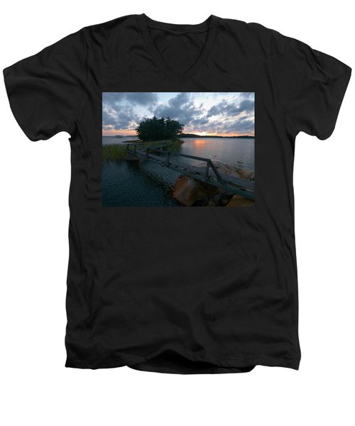 Men's V-Neck T-Shirt featuring the photograph Variations Of Sunsets At Gulf Of Bothnia 6 by Jouko Lehto