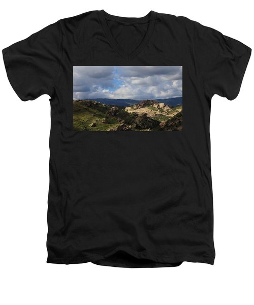 Men's V-Neck T-Shirt featuring the photograph Vasquez Rocks Natural Area by Viktor Savchenko