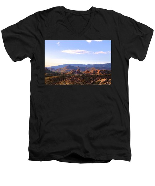 Men's V-Neck T-Shirt featuring the photograph Vasquez Rocks Sky And Stones by Viktor Savchenko
