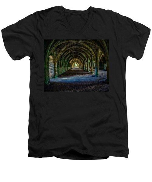 Vaulted, Fountains Abbey, Yorkshire, United Kingdom Men's V-Neck T-Shirt