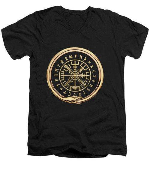 Vegvisir - A Magic Icelandic Viking Runic Compass - Gold On Black Men's V-Neck T-Shirt