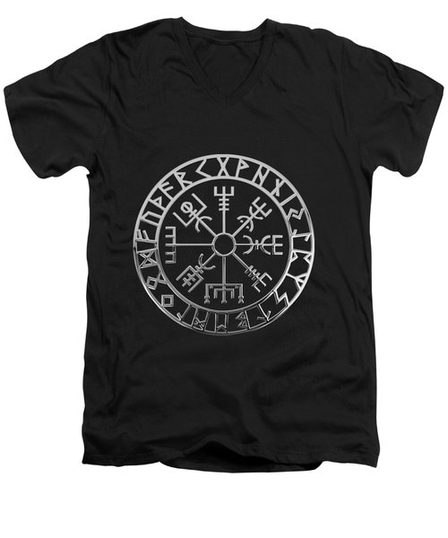 Vegvisir - A Magic Icelandic Viking Runic Compass - Silver On Black Men's V-Neck T-Shirt