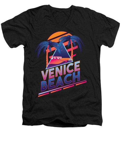 Venice Beach 80's Style Men's V-Neck T-Shirt by Alek Cummings