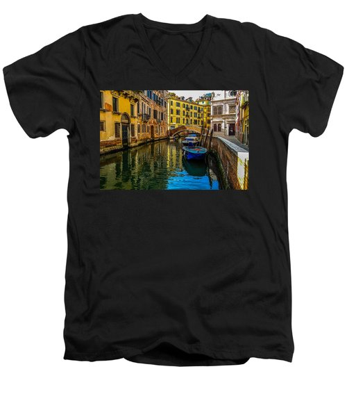 Venice Canal In Italy Men's V-Neck T-Shirt