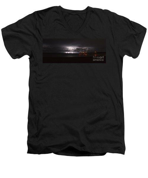 Venice Fishing Pier Men's V-Neck T-Shirt by Quinn Sedam