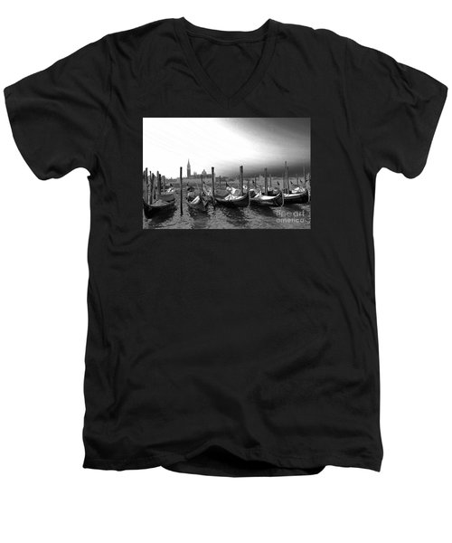 Men's V-Neck T-Shirt featuring the photograph Venice Gondolas Black And White by Rebecca Margraf