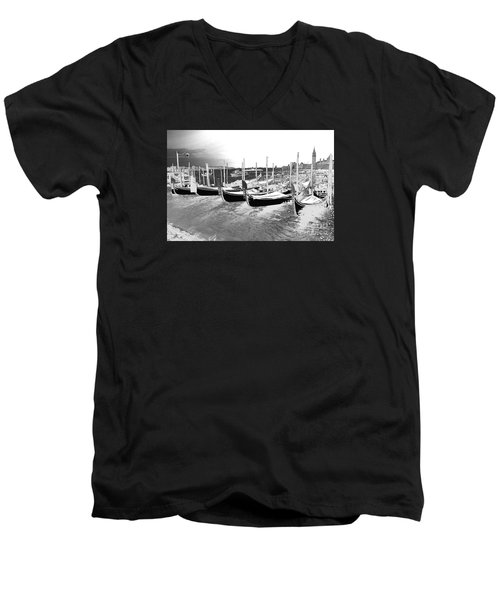 Men's V-Neck T-Shirt featuring the photograph Venice Gondolas Silver by Rebecca Margraf