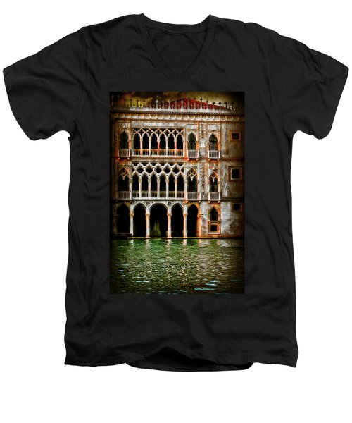 Men's V-Neck T-Shirt featuring the photograph Venice Palace  by Harry Spitz
