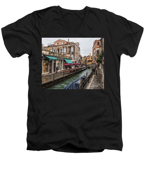 Men's V-Neck T-Shirt featuring the photograph Venice 'streets' by Shirley Mangini