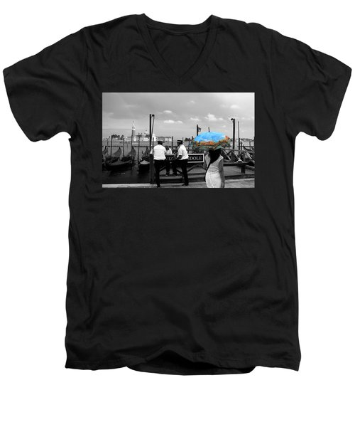 Men's V-Neck T-Shirt featuring the photograph Venice Umbrella by Andrew Fare