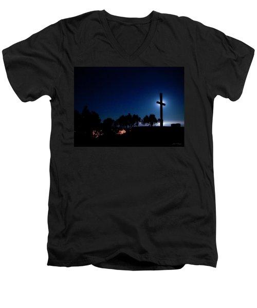 Ventura Ca Cross At Moonset Men's V-Neck T-Shirt