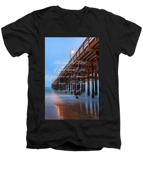 Men's V-Neck T-Shirt featuring the photograph Ventura Ca Pier With Bible Verse by John A Rodriguez
