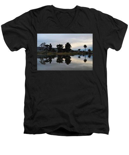 Men's V-Neck T-Shirt featuring the photograph Ventura California Coast Estuary by Kyle Hanson