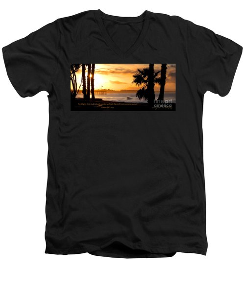 Men's V-Neck T-Shirt featuring the photograph Ventura California Sunrise With Bible Verse by John A Rodriguez