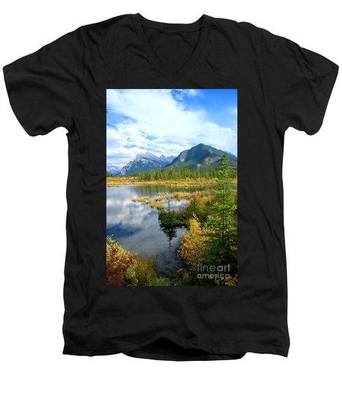 Vermillion Kaleidoscope  Men's V-Neck T-Shirt