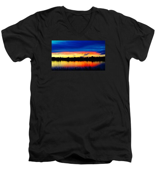 Men's V-Neck T-Shirt featuring the photograph Vermillion Sunset by Eric Dee