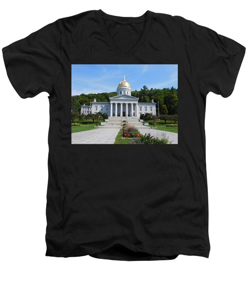 Vermont State House Men's V-Neck T-Shirt by Catherine Gagne