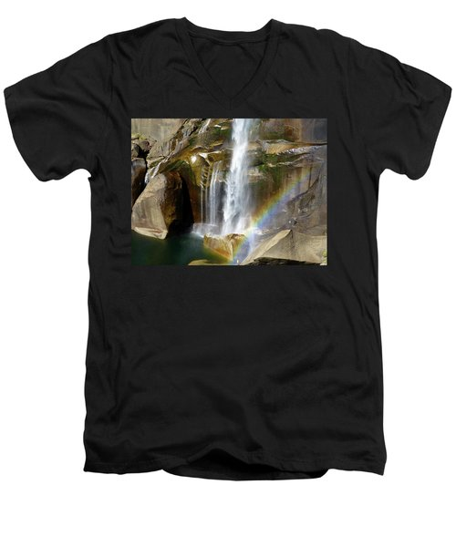 Vernal Falls Mist Trail Men's V-Neck T-Shirt by Amelia Racca