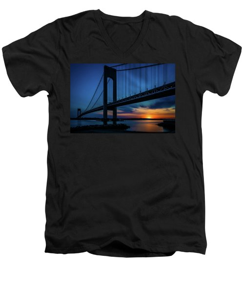 Men's V-Neck T-Shirt featuring the photograph Verrazano Sunset by Chris Lord