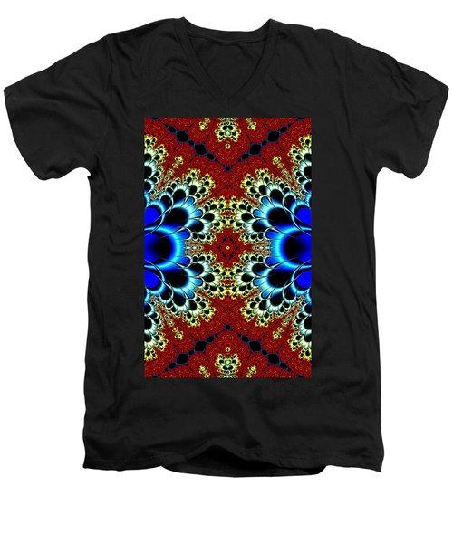 Vibrancy Fractal Cell Phone Case Men's V-Neck T-Shirt by Lea Wiggins
