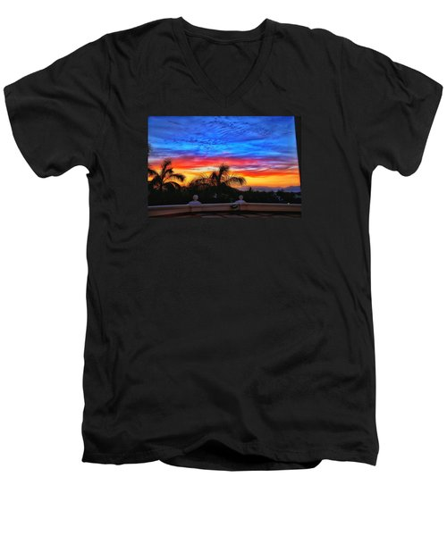 Men's V-Neck T-Shirt featuring the photograph Vibrant Sunset In Mexico by Nikki McInnes