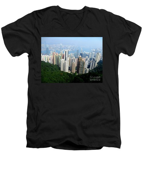 Men's V-Neck T-Shirt featuring the photograph Victoria Peak 1 by Randall Weidner