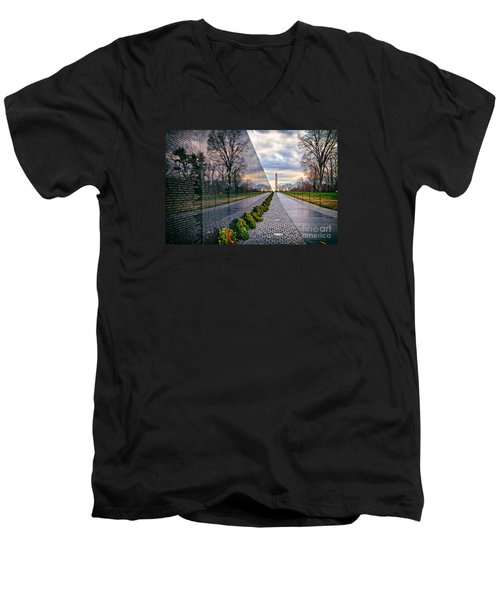Vietnam War Memorial, Washington, Dc, Usa Men's V-Neck T-Shirt