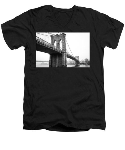 View Brooklyn Bridge With Foggy City In The Background Men's V-Neck T-Shirt
