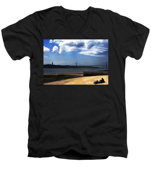 Men's V-Neck T-Shirt featuring the photograph View From Across The Tagus by Lorraine Devon Wilke