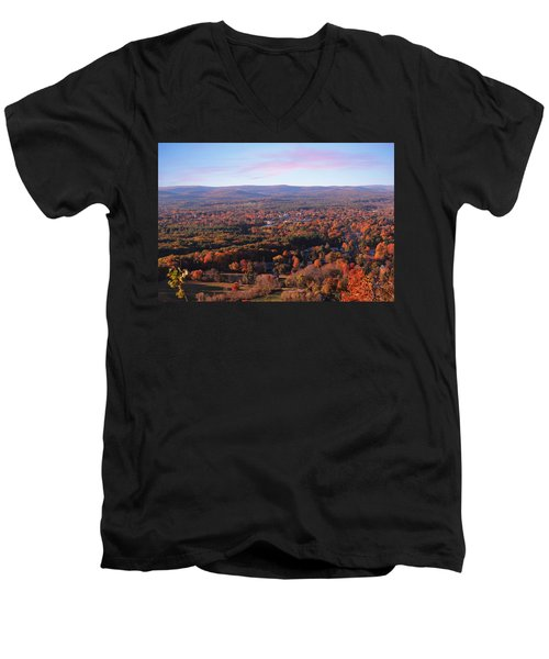 View From Mount Tom In Easthampton, Ma Men's V-Neck T-Shirt