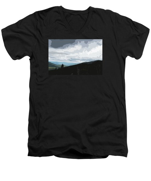 Men's V-Neck T-Shirt featuring the photograph View From Mount Washington II by Suzanne Gaff