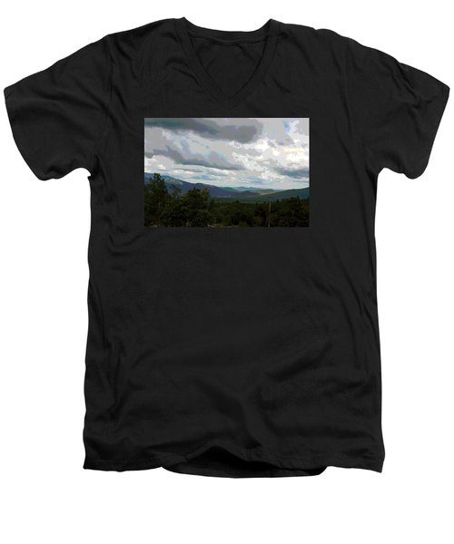 Men's V-Neck T-Shirt featuring the photograph View From Mount Washington IIi by Suzanne Gaff