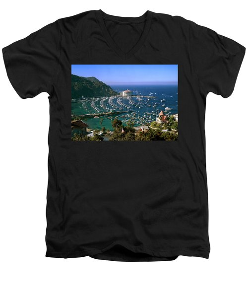 View Of Avalon Harbor Men's V-Neck T-Shirt