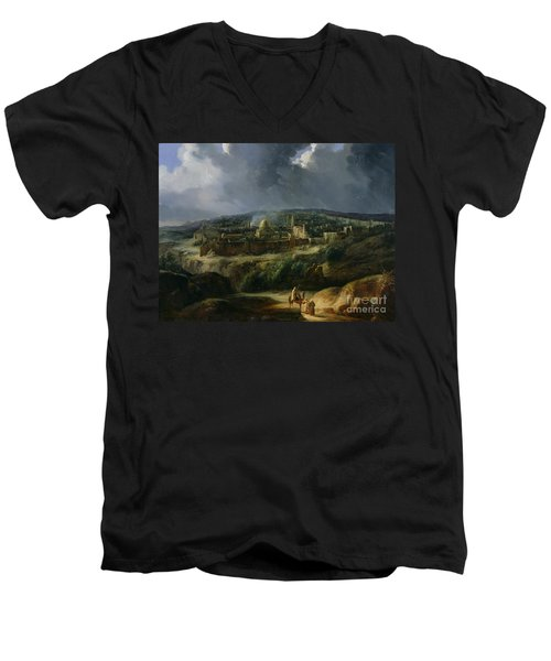 View Of Jerusalem From The Valley Of Jehoshaphat Men's V-Neck T-Shirt