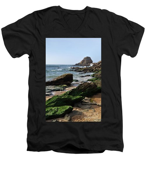 View Of Santa Rita Beach In Torres Vedras Men's V-Neck T-Shirt