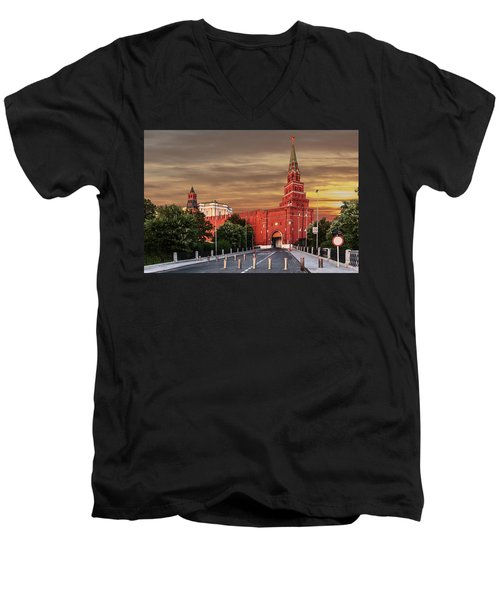 View Of The Borovitskaya Tower Of The Moscow Kremlin Men's V-Neck T-Shirt