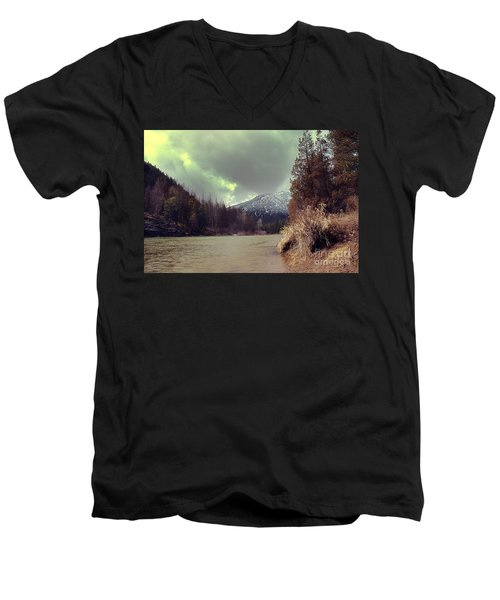 View On The Blackfoot River Men's V-Neck T-Shirt by Janie Johnson