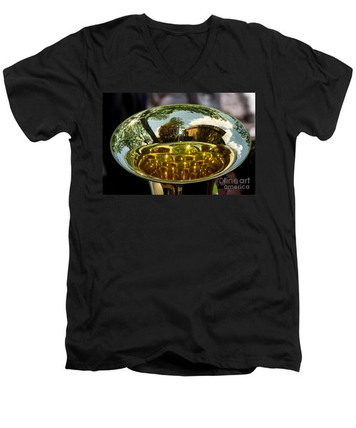 View Through A Sousaphone Men's V-Neck T-Shirt by Kevin Fortier
