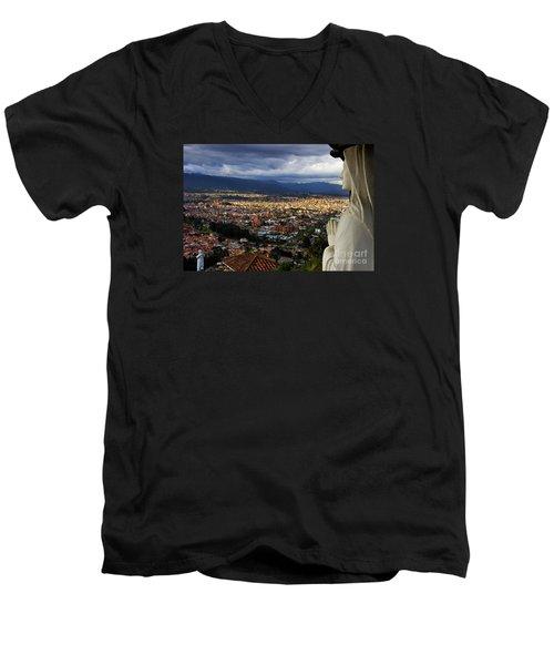 Vigil Over Cuenca From Turi Ecuador Men's V-Neck T-Shirt by Al Bourassa