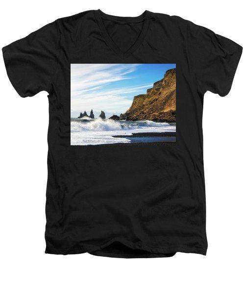 Men's V-Neck T-Shirt featuring the photograph Vik Reynisdrangar Beach And Ocean Iceland by Matthias Hauser
