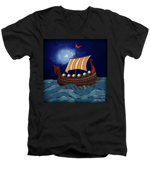 Men's V-Neck T-Shirt featuring the digital art Viking Ship by Megan Dirsa-DuBois