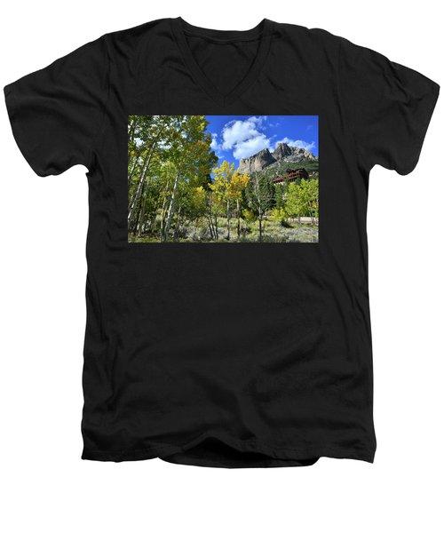 Village Beneath Mt. Charleston Men's V-Neck T-Shirt