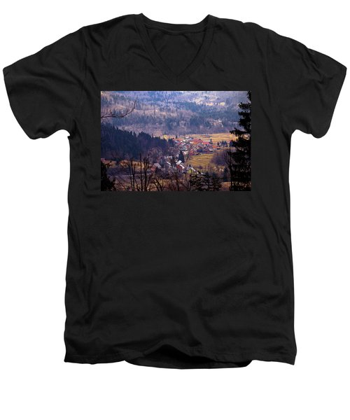 Village Of Lokve In Gorski Kotar  Men's V-Neck T-Shirt