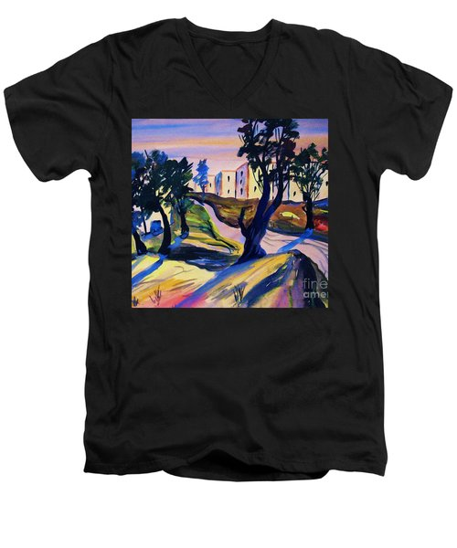 Men's V-Neck T-Shirt featuring the painting Villefranche by Roberto Prusso