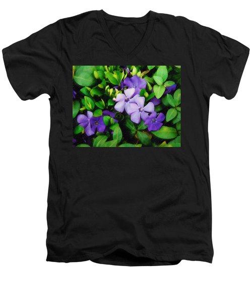Vinca Men's V-Neck T-Shirt by Sandy MacGowan