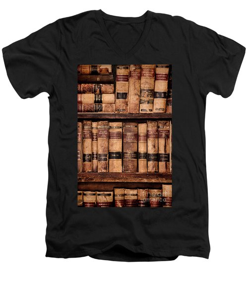 Men's V-Neck T-Shirt featuring the photograph Vintage American Law Books by Jill Battaglia