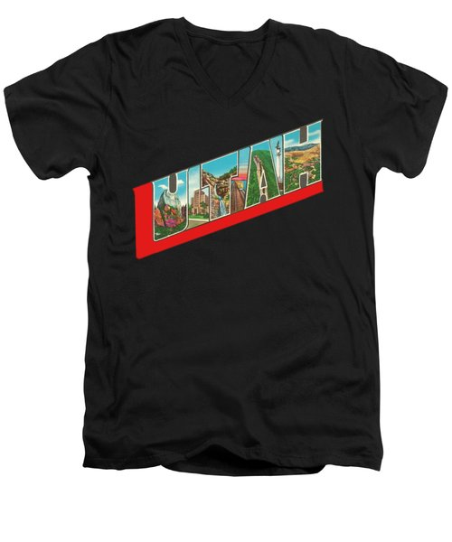 Vintage Big Letters Utah State Souvenir Men's V-Neck T-Shirt