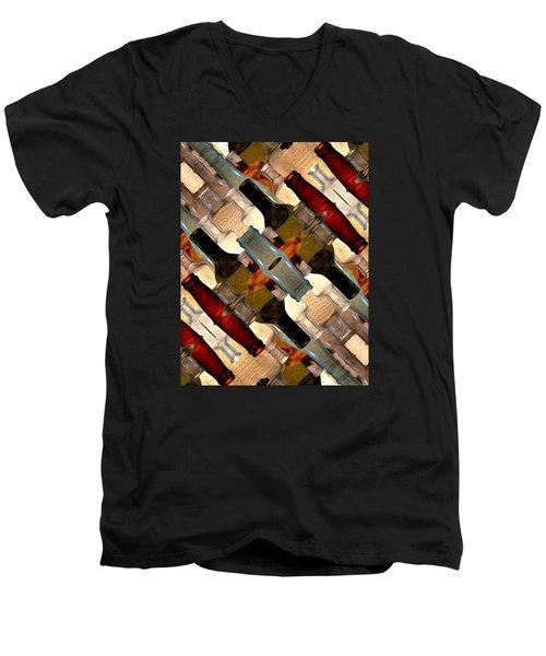 Vintage Bottles Abstract Men's V-Neck T-Shirt