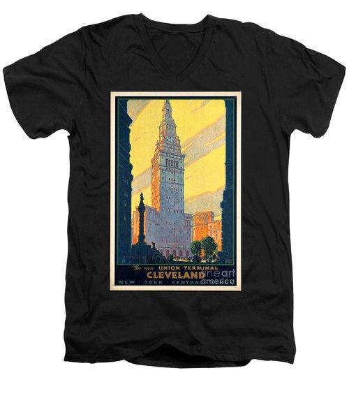 Vintage Cleveland Travel Poster Men's V-Neck T-Shirt