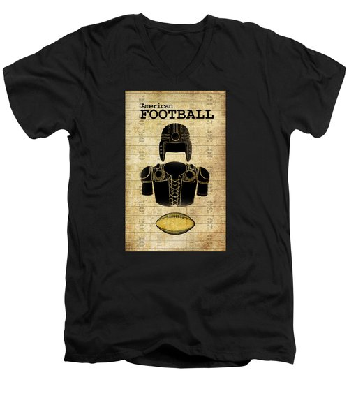 Vintage Football Print Men's V-Neck T-Shirt by Greg Sharpe